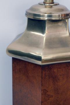 Frederick Cooper Lamp Co Good Quality Frederick Cooper 1960s Octagonal Burlwood and Brass Lamp - 1828450