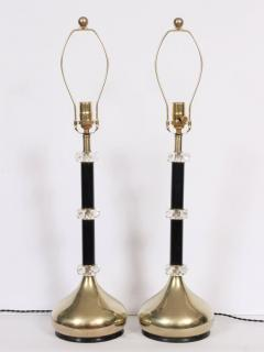 Frederick Cooper Lamp Co Tall Pair Black Brass Faceted Lucite Stacked Table Lamps - 1632476