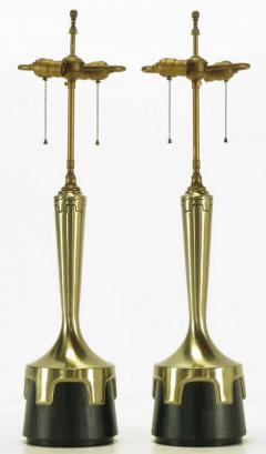 Frederick G Cooper Pair of Frederick Cooper Nickel Ebonized Walnut Table Lamps - 237507