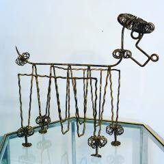 Frederick Weinberg Mid Century Gilt Iron Poodle Magazine Rack in the Manner of Frederick Weinberg - 1032054