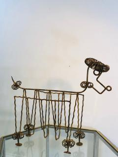 Frederick Weinberg Mid Century Gilt Iron Poodle Magazine Rack in the Manner of Frederick Weinberg - 1032058
