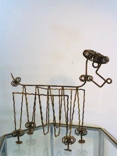Frederick Weinberg Mid Century Gilt Iron Poodle Magazine Rack in the Manner of Frederick Weinberg - 1032059
