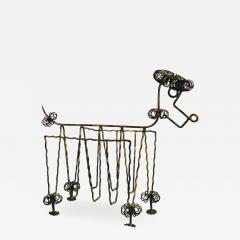 Frederick Weinberg Mid Century Gilt Iron Poodle Magazine Rack in the Manner of Frederick Weinberg - 1032614