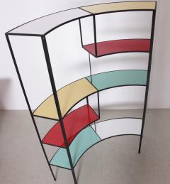 Frederick Weinberg Multicolored Vitrolite Glass Wrought Iron Shelf by Frederic Weinberg - 564884