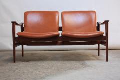 Fredrik A Kayser Fredrik Kayser Loveseat in Leather and Teak - 374729