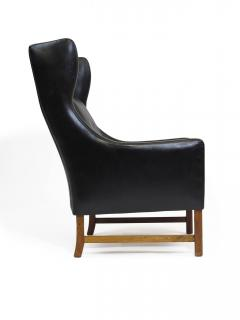Fredrik Kayser Rosewood and Black Leather High Back Danish Lounge Chair - 969737