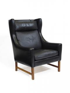 Fredrik Kayser Rosewood and Black Leather High Back Danish Lounge Chair - 969739