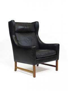 Fredrik Kayser Rosewood and Black Leather High Back Danish Lounge Chair - 969740