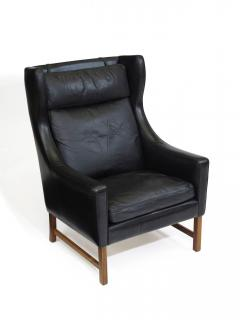 Fredrik Kayser Rosewood and Black Leather High Back Danish Lounge Chair - 969741