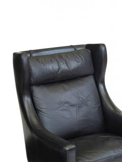 Fredrik Kayser Rosewood and Black Leather High Back Danish Lounge Chair - 969742
