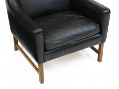 Fredrik Kayser Rosewood and Black Leather High Back Danish Lounge Chair - 969744