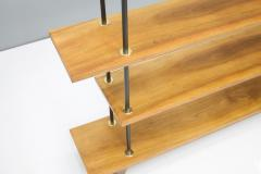 Free Standing Shelf or tag re in Teak Wood Brass and Metal 1950s - 1297752