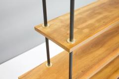 Free Standing Shelf or tag re in Teak Wood Brass and Metal 1950s - 1297754