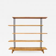 Free Standing Shelf or tag re in Teak Wood Brass and Metal 1950s - 1308789