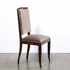 French 1940s Art Deco Walnut Side Chair in Dusk Holly Hunt Great Plains Velvet - 2050252