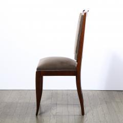 French 1940s Art Deco Walnut Side Chair in Dusk Holly Hunt Great Plains Velvet - 2050253
