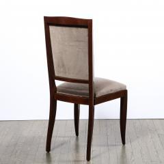 French 1940s Art Deco Walnut Side Chair in Dusk Holly Hunt Great Plains Velvet - 2050280
