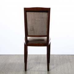 French 1940s Art Deco Walnut Side Chair in Dusk Holly Hunt Great Plains Velvet - 2050289