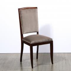 French 1940s Art Deco Walnut Side Chair in Dusk Holly Hunt Great Plains Velvet - 2050342