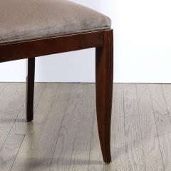 French 1940s Art Deco Walnut Side Chair in Dusk Holly Hunt Great Plains Velvet - 2050349
