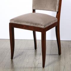 French 1940s Art Deco Walnut Side Chair in Dusk Holly Hunt Great Plains Velvet - 2050350