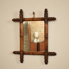 French 1940s Colonial Style Faux Bamboo Mirror with Original Glass - 663461