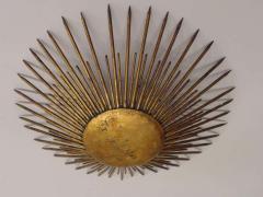 French 1940s Gilt Iron Modern Neoclassical Sunburst Flush Mount or Pendant - 1876773