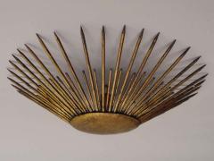 French 1940s Gilt Iron Modern Neoclassical Sunburst Flush Mount or Pendant - 1876774
