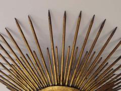 French 1940s Gilt Iron Modern Neoclassical Sunburst Flush Mount or Pendant - 1876775
