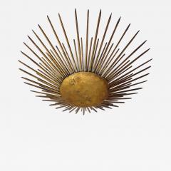 French 1940s Gilt Iron Modern Neoclassical Sunburst Flush Mount or Pendant - 1879893