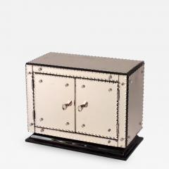 French 1940s Pink Mirrored Rectangular Miniature Cabinet - 478415