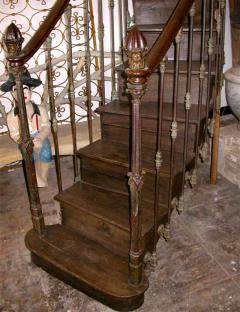 French 19th C Hand Carved Cast Iron Staircase   498347