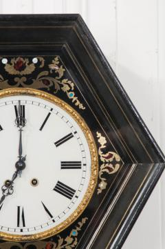 French 19th Century Boulle Inlaid Hexagonal Wall Clock - 1337645
