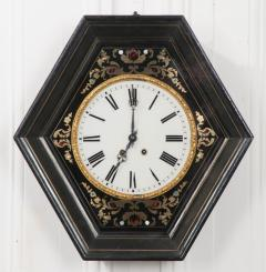 French 19th Century Boulle Inlaid Hexagonal Wall Clock - 1337648