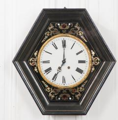 French 19th Century Boulle Inlaid Hexagonal Wall Clock - 1337649