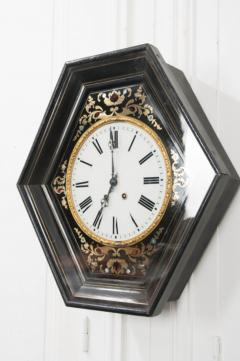 French 19th Century Boulle Inlaid Hexagonal Wall Clock - 1337659