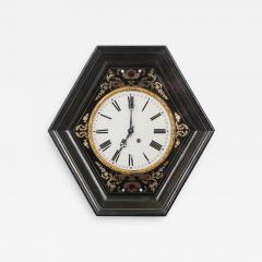 French 19th Century Boulle Inlaid Hexagonal Wall Clock - 1338618