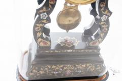 French 19th Century Boulle Inlay Table Clock Under Glass Dome - 1882566