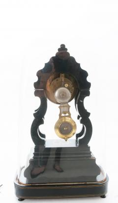 French 19th Century Boulle Inlay Table Clock Under Glass Dome - 1882584