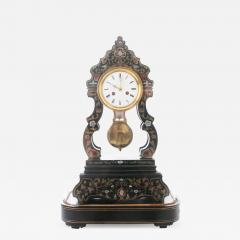 French 19th Century Boulle Inlay Table Clock Under Glass Dome - 1973545