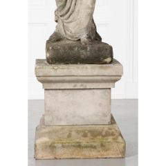 French 19th Century Cast Stone Statue on Pedestal - 1937302