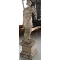 French 19th Century Cast Stone Statue on Pedestal - 1937310