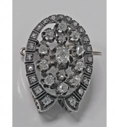 French 19th Century Diamond Brooch Pendant 18K and Silver C 1870 - 363058