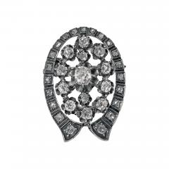 French 19th Century Diamond Brooch Pendant 18K and Silver C 1870 - 363502
