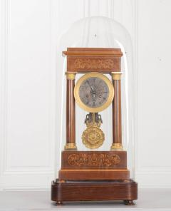 French 19th Century Empire Style Marquetry Satinwood and Bronze Portico Clock - 919277