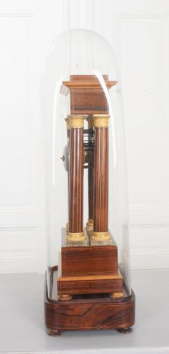 French 19th Century Empire Style Marquetry Satinwood and Bronze Portico Clock - 919280