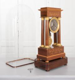 French 19th Century Empire Style Marquetry Satinwood and Bronze Portico Clock - 919281