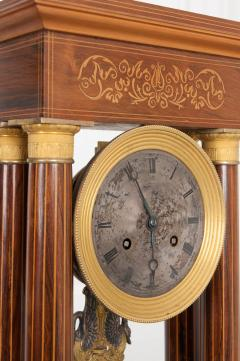 French 19th Century Empire Style Marquetry Satinwood and Bronze Portico Clock - 919282