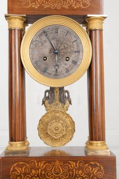 French 19th Century Empire Style Marquetry Satinwood and Bronze Portico Clock - 919286