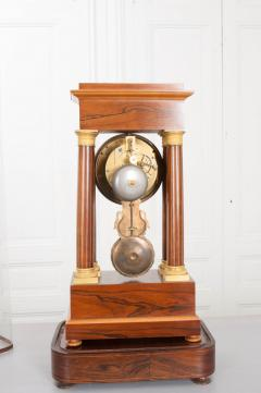 French 19th Century Empire Style Marquetry Satinwood and Bronze Portico Clock - 919290